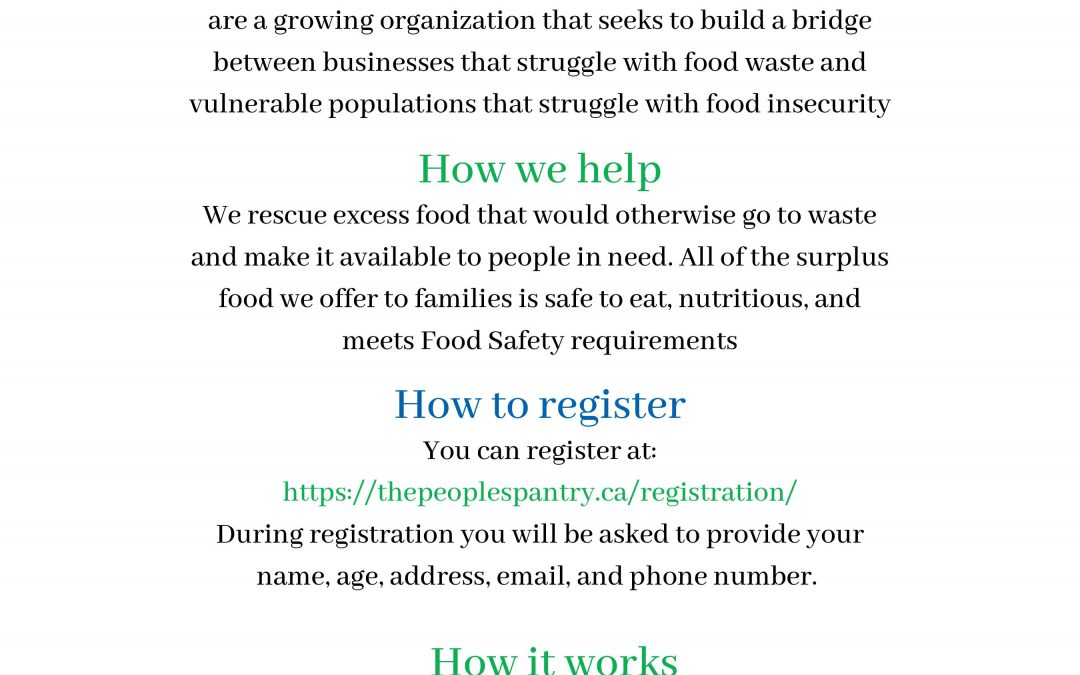 The People's Pantry Registration